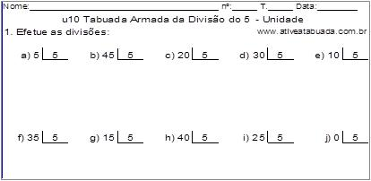 u10 Tabuada Armada da Divisão do 5 - Unidade