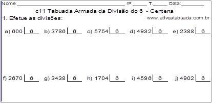 c11 Tabuada Armada da Divisão do 6 - Centena