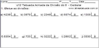 c12 Tabuada Armada da Divisão do 6 - Centena