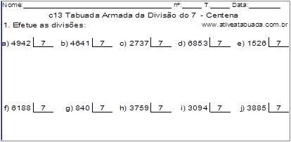 c13 Tabuada Armada da Divisão do 7 - Centena