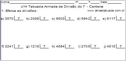 c14 Tabuada Armada da Divisão do 7 - Centena