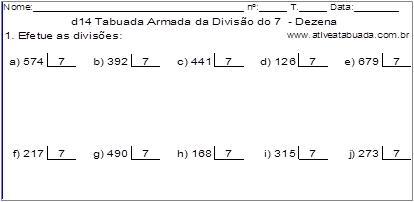 d14 Tabuada Armada da Divisão do 7 - Dezena