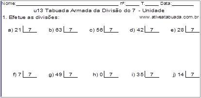 u13 Tabuada Armada da Divisão do 7 - Unidade