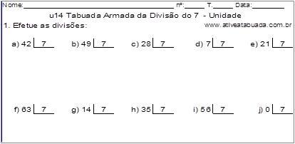 u14 Tabuada Armada da Divisão do 7 - Unidade