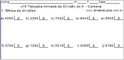 c15 Tabuada Armada da Divisão do 8 - Centena