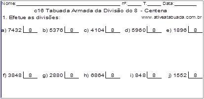 c16 Tabuada Armada da Divisão do 8 - Centena