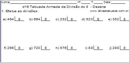 d16 Tabuada Armada da Divisão do 8 - Dezena