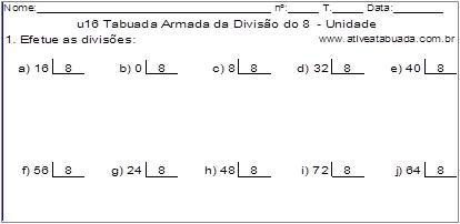 u16 Tabuada Armada da Divisão do 8 - Unidade