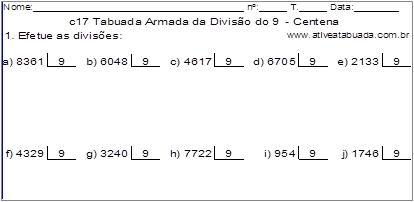 c17 Tabuada Armada da Divisão do 9 - Centena