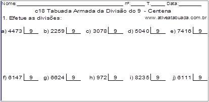 c18 Tabuada Armada da Divisão do 9 - Centena