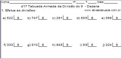 d17 Tabuada Armada da Divisão do 9 - Dezena