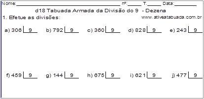 d18 Tabuada Armada da Divisão do 9 - Dezena