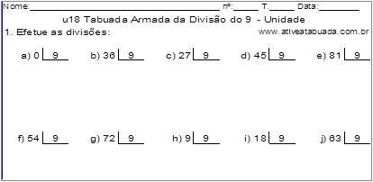 u18 Tabuada Armada da Divisão do 9 - Unidade