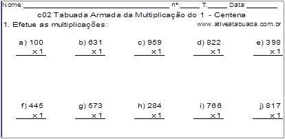 c02 Tabuada Armada da Multiplicação do 1 - Centena