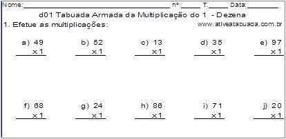 d01 Tabuada Armada da Multiplicação do 1 - Dezena