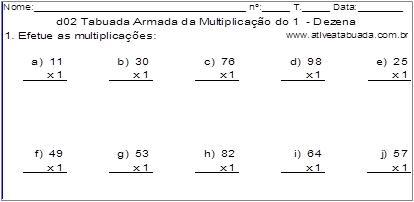 d02 Tabuada Armada da Multiplicação do 1 - Dezena