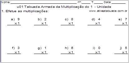u01 Tabuada Armada da Multiplicação do 1 - Unidade