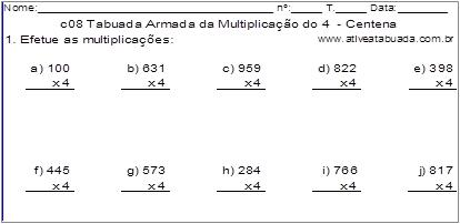 c08 Tabuada Armada da Multiplicação do 4 - Centena