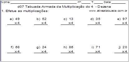 d07 Tabuada Armada da Multiplicação do 4 - Dezena
