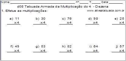 d08 Tabuada Armada da Multiplicação do 4 - Dezena
