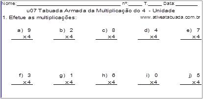 u07 Tabuada Armada da Multiplicação do 4 - Unidade