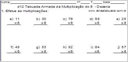 d12 Tabuada Armada da Multiplicação do 6 - Dezena