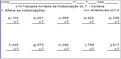 c14 Tabuada Armada da Multiplicação do 7 - Centena