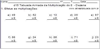 d15 Tabuada Armada da Multiplicação do 8 - Dezena
