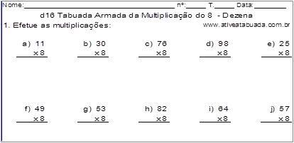 d16 Tabuada Armada da Multiplicação do 8 - Dezena