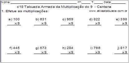 c18 Tabuada Armada da Multiplicação do 9 - Centena