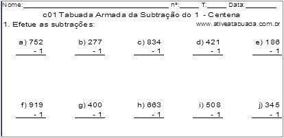 c01 Tabuada Armada da Subtração do 1 - Centena