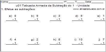 u01 Tabuada Armada da Subtração do 1 - Unidade