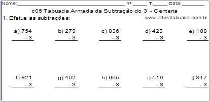 c05 Tabuada Armada da Subtração do 3 - Centena