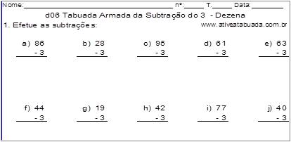d06 Tabuada Armada da Subtração do 3 - Dezena