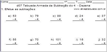 d07 Tabuada Armada da Subtração do 4 - Dezena