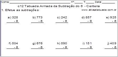 c12 Tabuada Armada da Subtração do 6 - Centena
