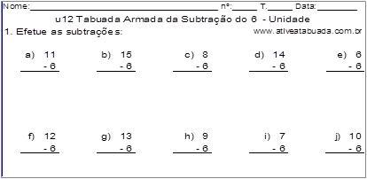 u12 Tabuada Armada da Subtração do 6 - Unidade