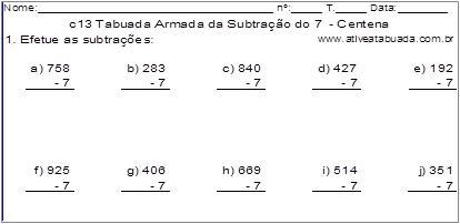c13 Tabuada Armada da Subtração do 7 - Centena