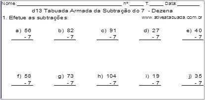 d13 Tabuada Armada da Subtração do 7 - Dezena