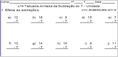 u14 Tabuada Armada da Subtração do 7 - Unidade