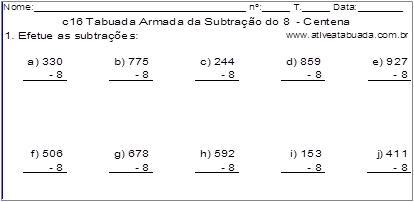 c16 Tabuada Armada da Subtração do 8 - Centena