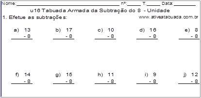 u16 Tabuada Armada da Subtração do 8 - Unidade