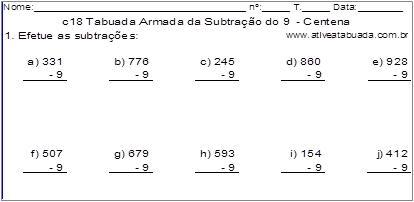 c18 Tabuada Armada da Subtração do 9 - Centena
