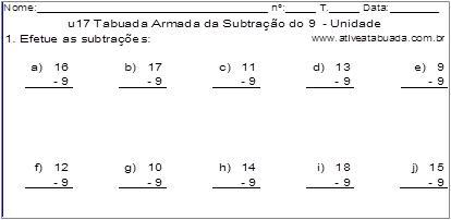 u17 Tabuada Armada da Subtração do 9 - Unidade